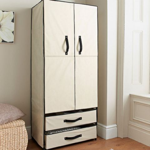 Cream Canvas Wardrobe & Drawers Unit